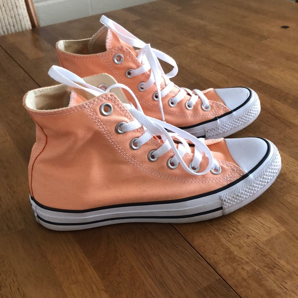 Converse Shoes   Coral High Tops   Poshmark